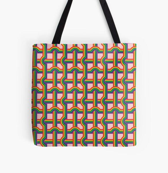 Scandi Midcentury Modern Retro Geometric Rainbow Grid Pink Checks Pattern All Over Print Tote Bag
