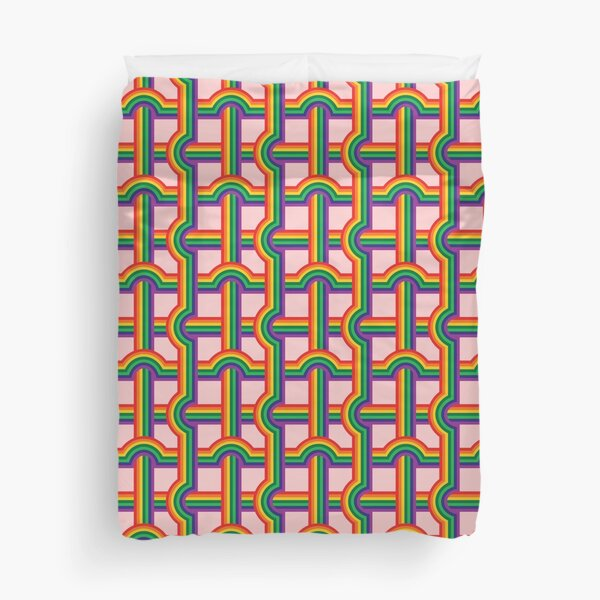 Scandi Midcentury Modern Retro Geometric Rainbow Grid Pink Checks Pattern Duvet Cover