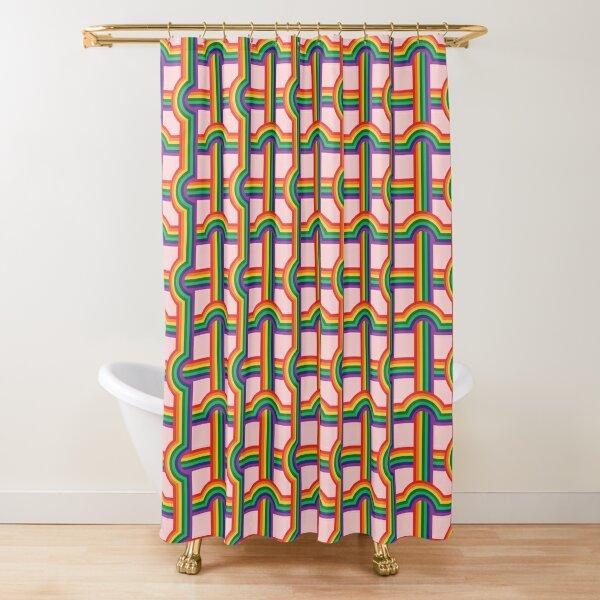 Scandi Midcentury Modern Retro Geometric Rainbow Grid Pink Checks Pattern Shower Curtain