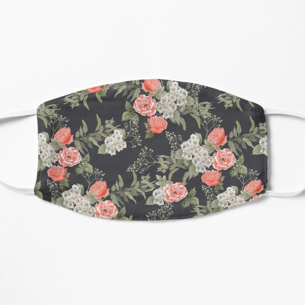 Dark Floral Coral Rose Pattern Mask