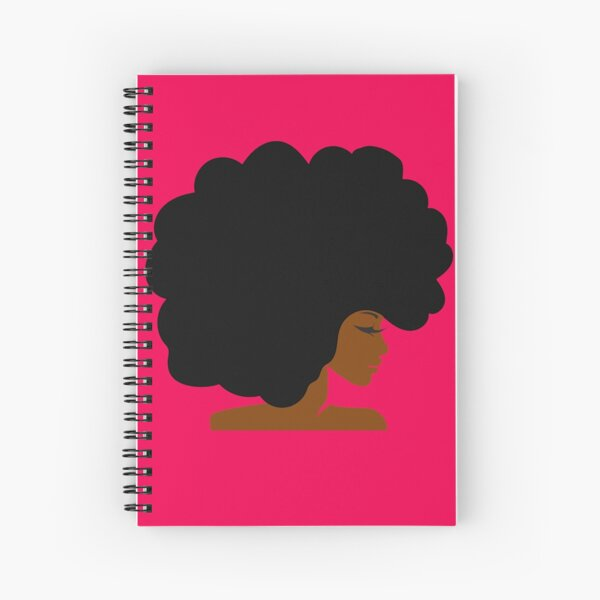 Big Curly Afro Natural Hair Black Woman Spiral Notebook