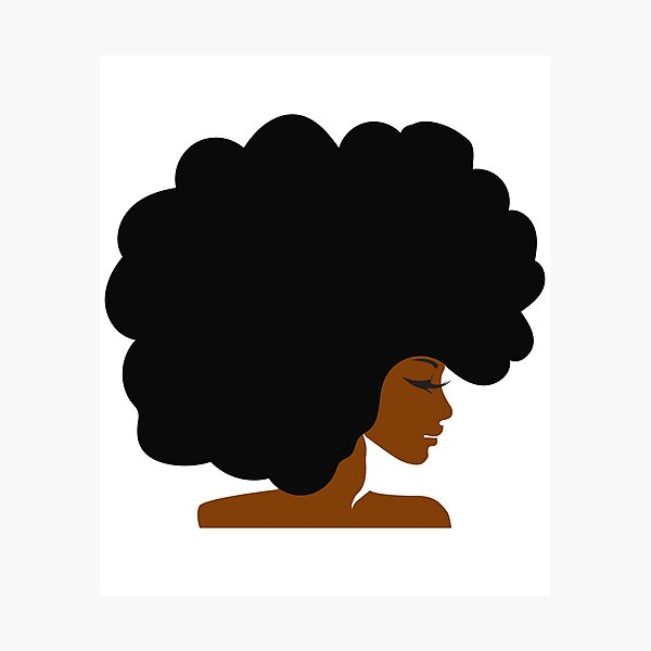 Big Curly Afro Natural Hair Black Woman Photographic Print
