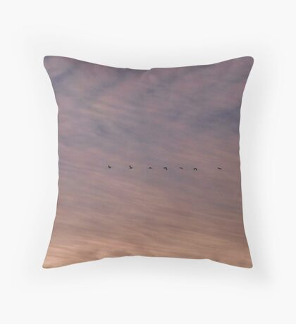 Flock of ibis in an evening sky Throw Pillow