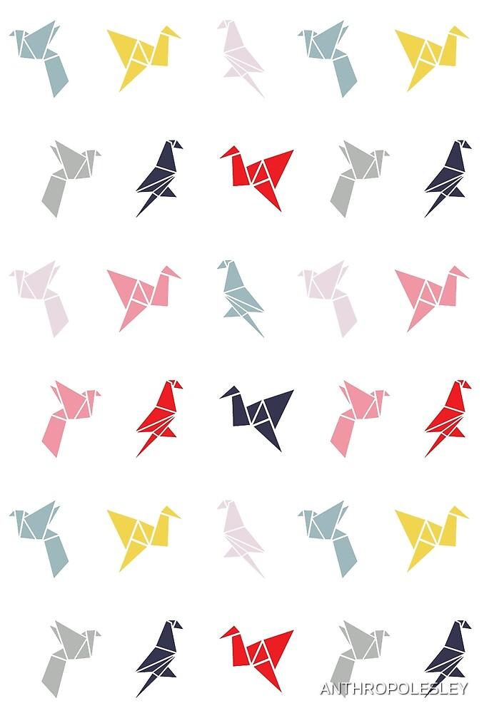 Baby Origami Rainbow Birds by ANTHROPOLESLEY
