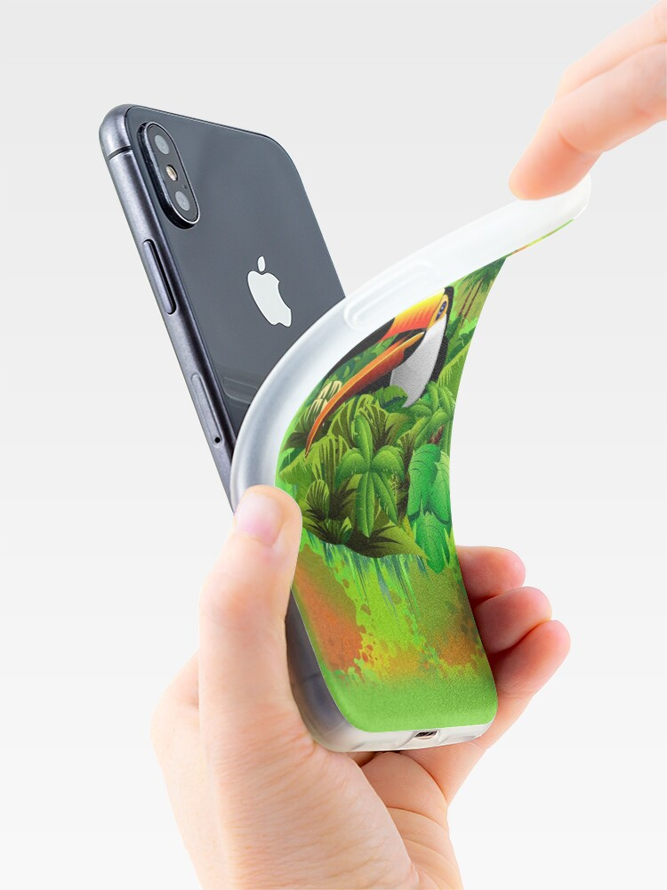 Alternate view of Toucan on Wild Green Jungle  iPhone Case & Cover