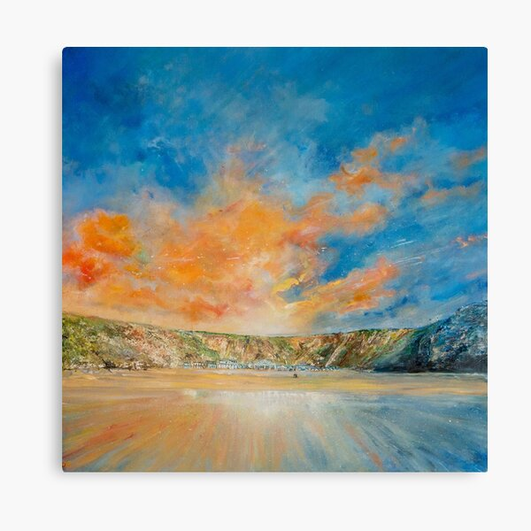 Lusty Glaze Sun, Newquay Cornwall Art Canvas Print