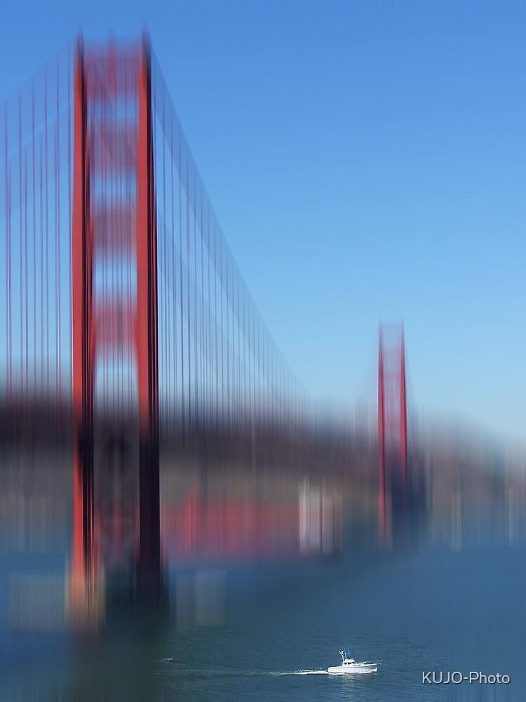 Golden Gate Bridge and white Boat by KUJO-Photo
