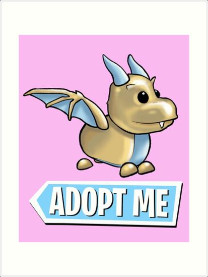 Adopt Me Golden Dragon Logo Art Print By Pickledjo Redbubble