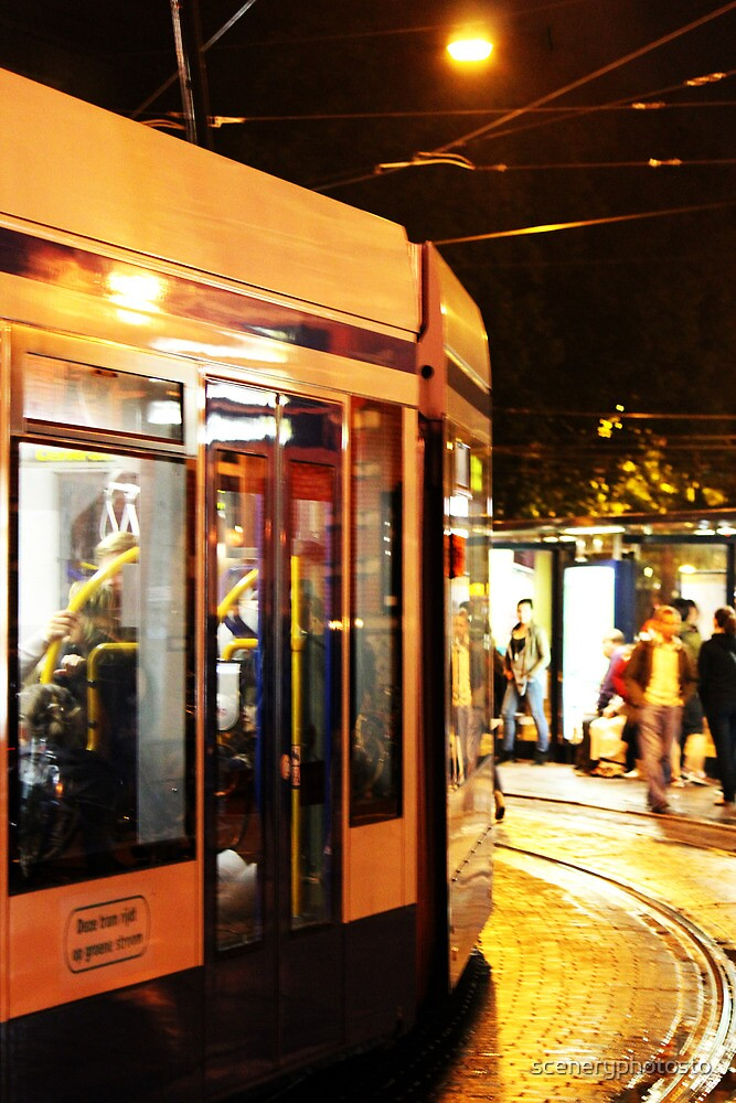 Tram By Leidseplein At Night by sceneryphotosto