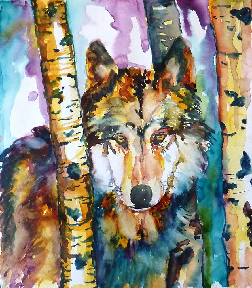 Wolf in Aspen by twopoots