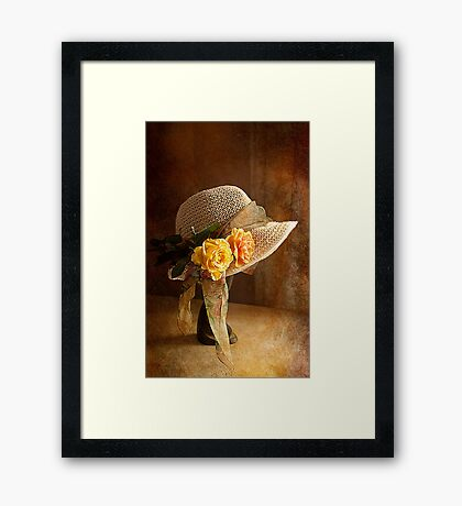 If you can't get ahead get a hat !! Framed Print