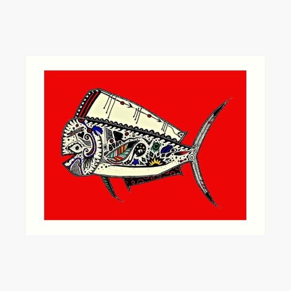 Graffiti Red Mahi Mahi Dolphinfish Art Print
