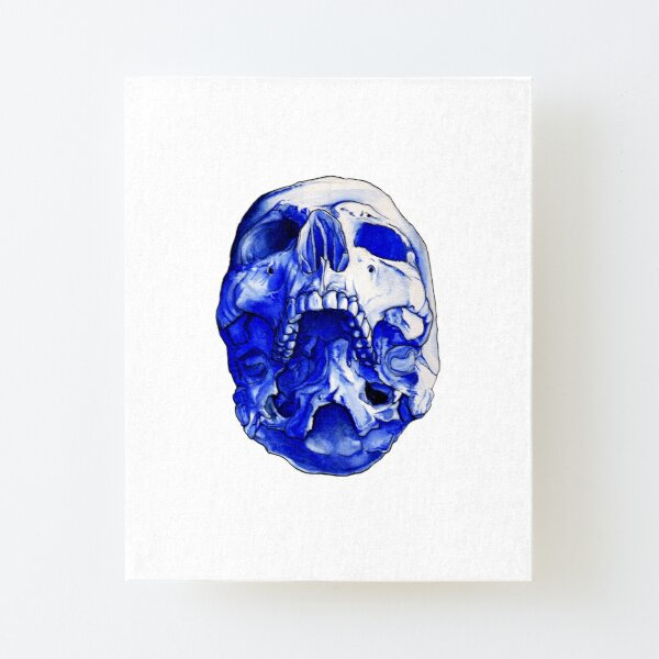 Watercolor Blue Skull Canvas Mounted Print