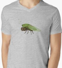 Cicada Playing a Squeezebox Men's V-Neck T-Shirt