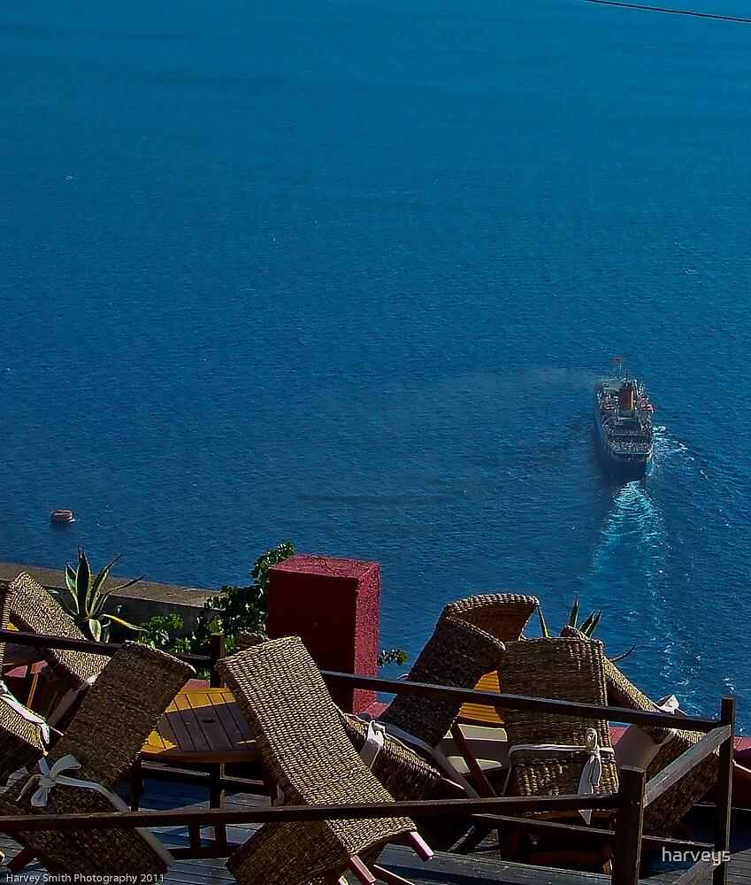 Sailing away from Santorini by harveys