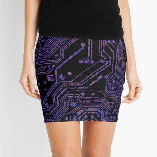 Purple Printed Circuit Print Mini Skirt