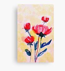 Royal Pink roses. watercolor Canvas Print