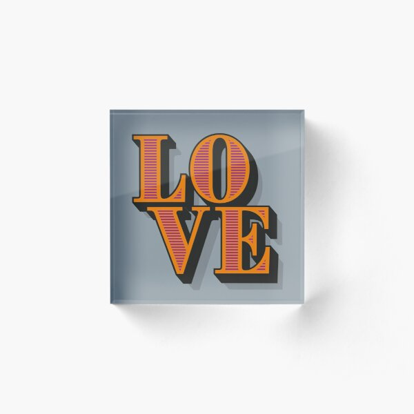 Valentine Gift - LOVE Circus Style Lettering Grey/Gray Acrylic Block