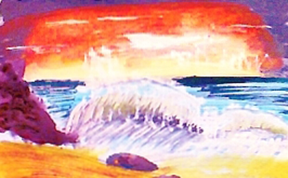 Sunsetting over crashing waves by Anna  Lewis, blind artist