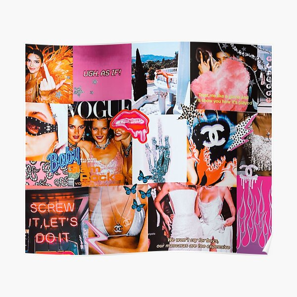 High Fashion Pink Collage Poster