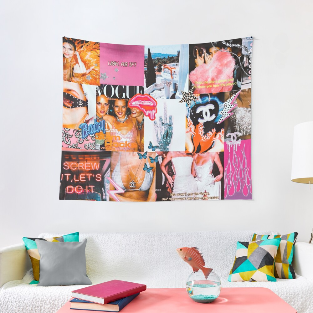 High Fashion Pink Collage Tapestry