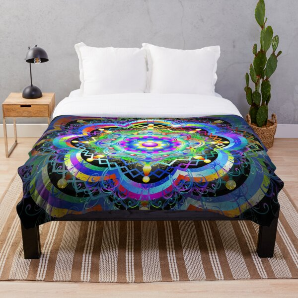Mandala Universe Psychedelic  Throw Blanket