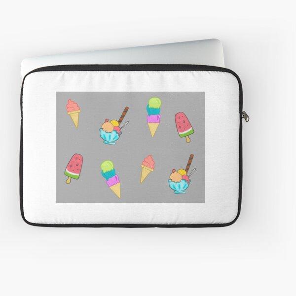 Ice Cream Pattern - Grey Speckled Background Laptop Sleeve