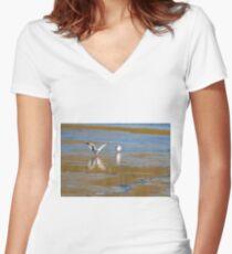 Seagull  landing  Women's Fitted V-Neck T-Shirt