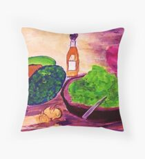 Lets snack, where are the chips??  watercolor Throw Pillow