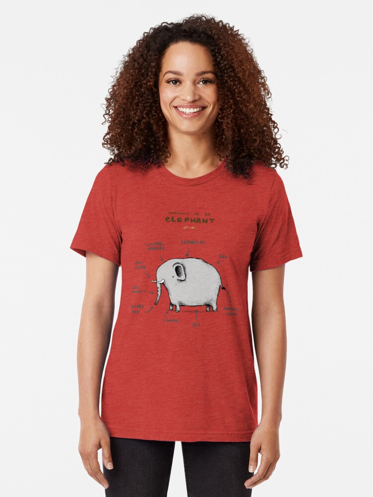 Alternative Ansicht von Anatomie eines Elefanten Vintage T-Shirt