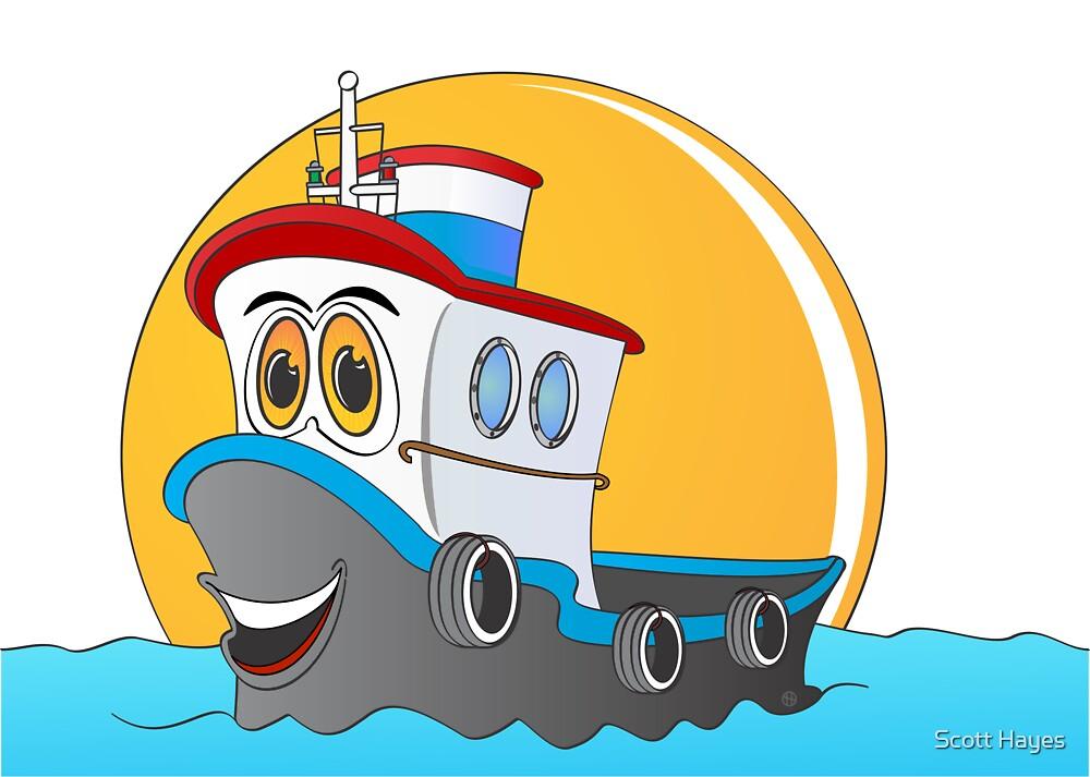 Tug Boat Cartoon by Graphxpro