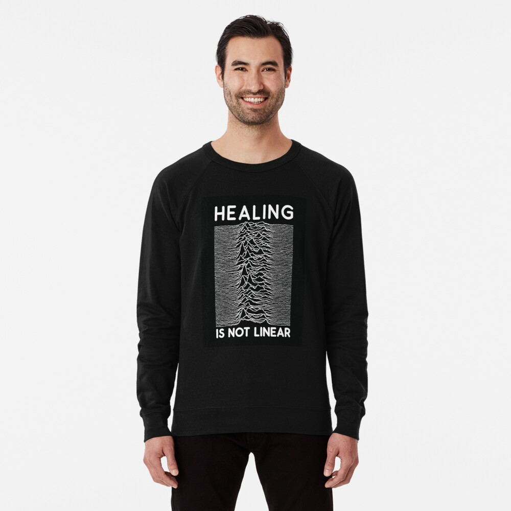 healing is not linear x joy division unknown pleasures Lightweight Sweatshirt