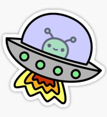 Cute alien in ufo in space Sticker