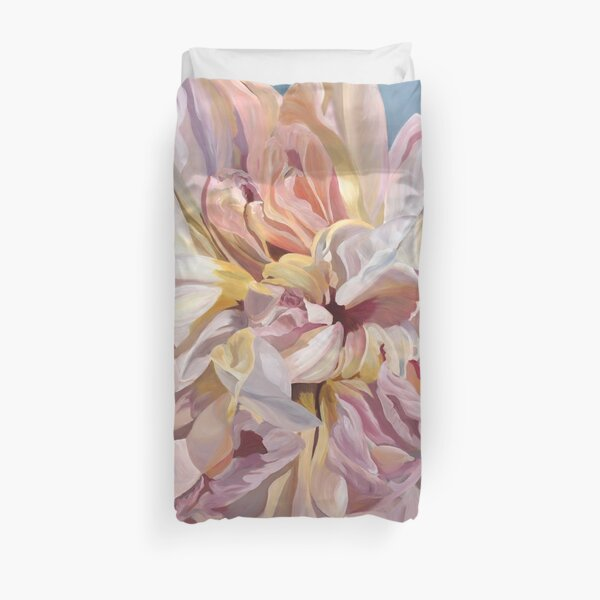 Gorgeous Peony of creams, pinks and golds Duvet Cover
