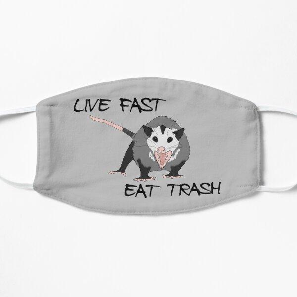 live fast eat trash - possum opossum Flat Mask