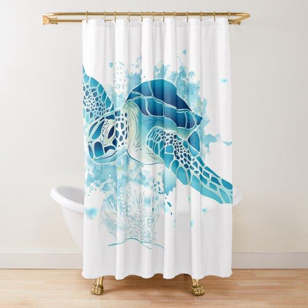 Sea Turtle - Blue Shower Curtain