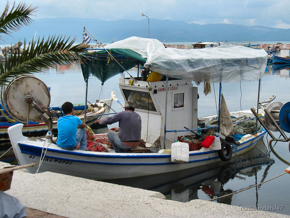 FISHERMEN AT WORK.LESBOS. 1 by ronsaunders47