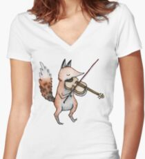Violin Fox Women's Fitted V-Neck T-Shirt