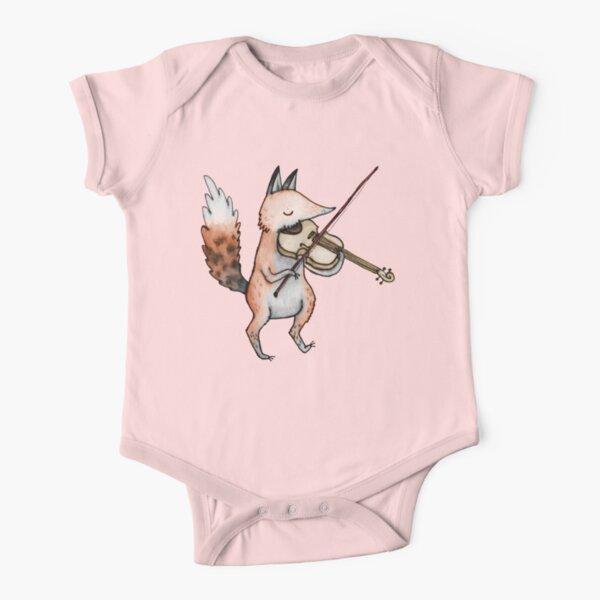 Violin Fox Short Sleeve Baby One-Piece