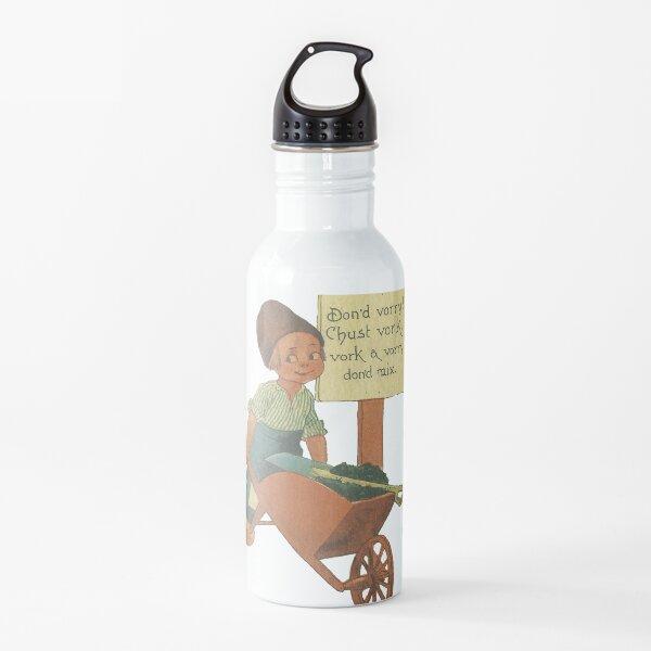 Old Dutch Boy con Wheel Barrel Work No te preocupes Botella de agua