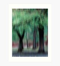 Group of Trees in Motion - green Art Print
