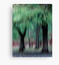 Group of Trees in Motion - green Canvas Print