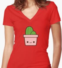 Cactus in cute pot Women's Fitted V-Neck T-Shirt
