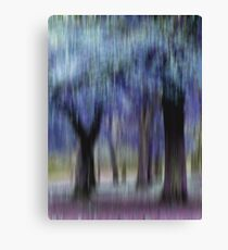 Group of Trees in Motion - blue Canvas Print