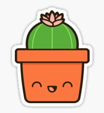 Cactus with flower in cute pot Sticker