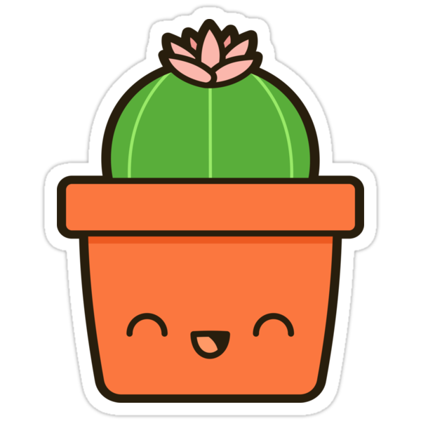 """Cactus with flower in cute pot"" Stickers by ..."