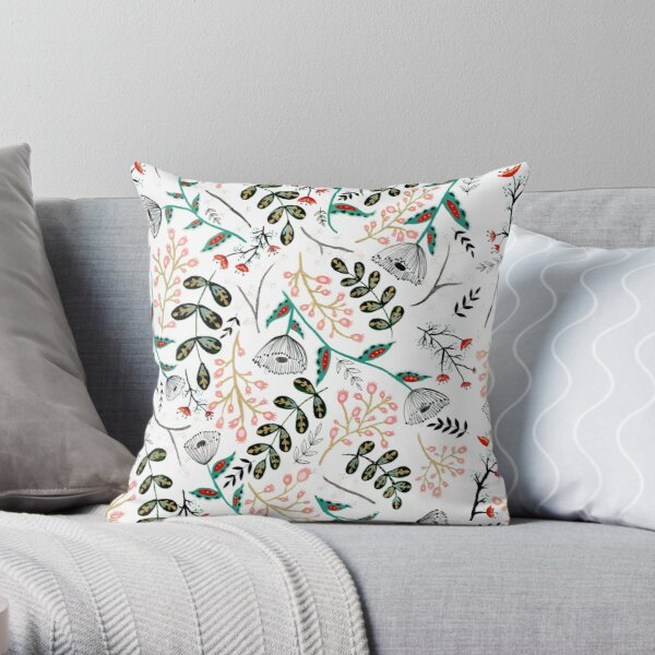 Folk Botanical Throw Pillow