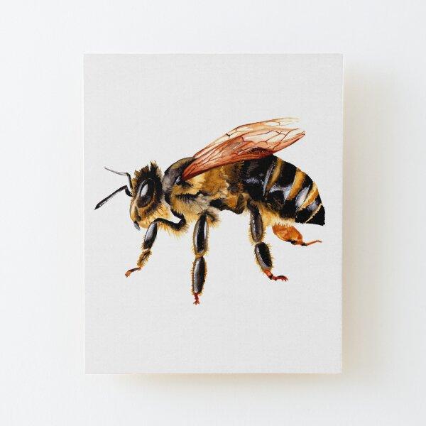 Watercolor Bee Painting Wood Mounted Print