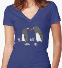 Penguin Family Women's Fitted V-Neck T-Shirt
