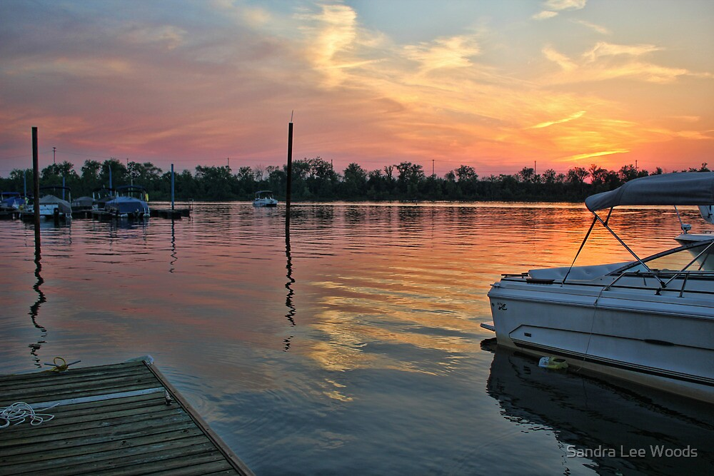 Sunset at RC's Marina Clark, PA by Sandra Lee Woods
